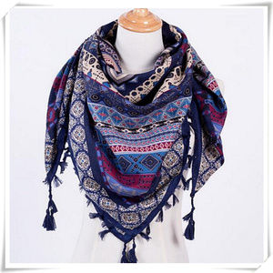 Boho square scarf with tassels in blue